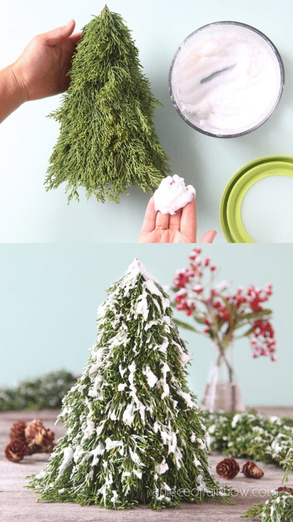 how to make snow flocked Christmas tree for  winter farmhouse decorations. Easy crafts with DIY fake snow.