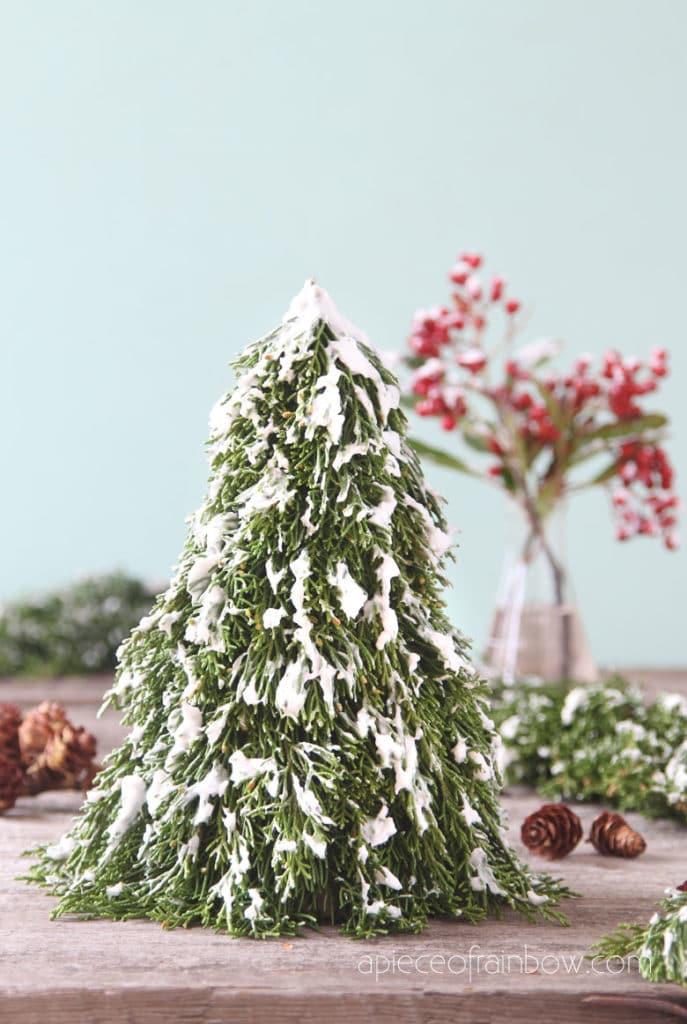 DIY tabletop snowy Christmas tree