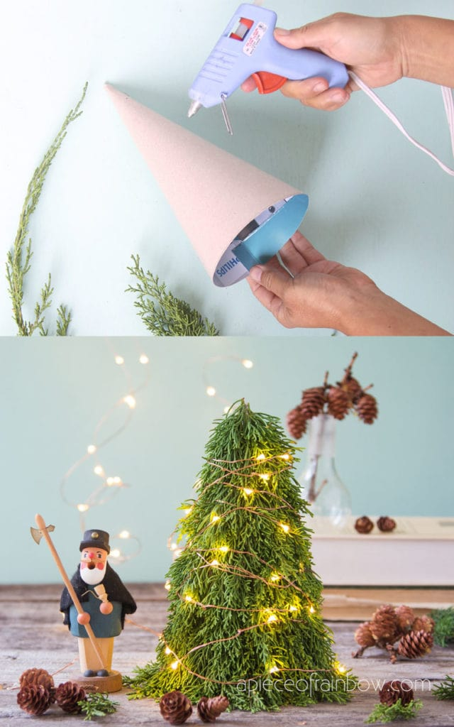 Beautiful lighted DIY Christmas tree winter crafts and  farmhouse decorations
