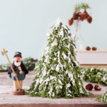 Make a tabletop snow flocked Christmas tree for almost free! Beautiful winter farmhouse decorations and easy crafts. Best DIY fake snow recipe!