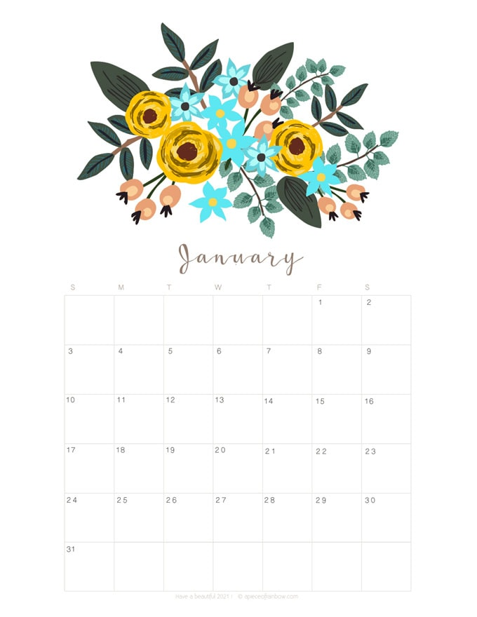 Free printable January 2021 calendar and monthly planner