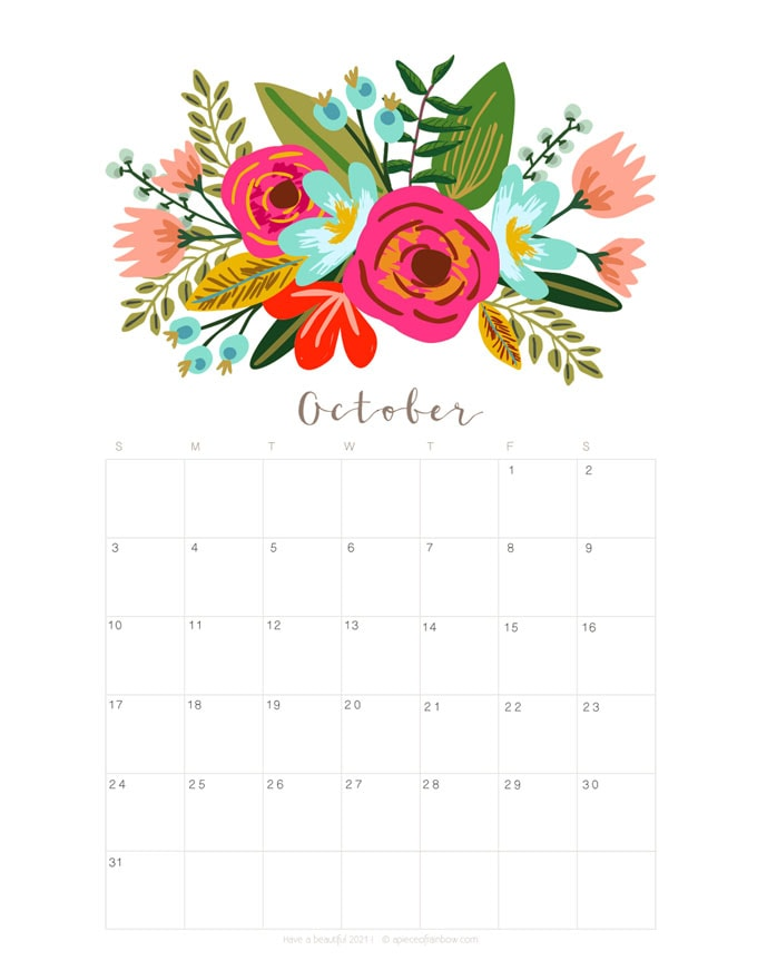 Free printable October 2021 calendar and monthly planner
