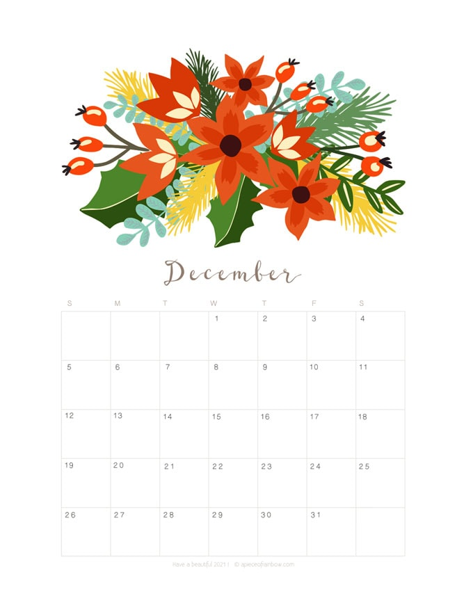 Free printable December 2021 calendar and monthly planner