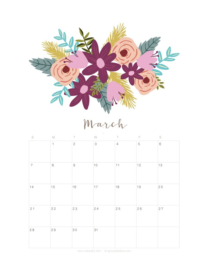 Printable March 2021 Calendar Monthly Planner {2 Designs ...