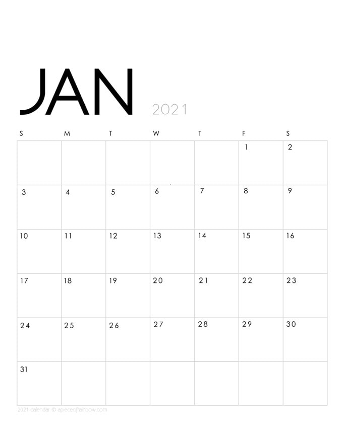 Free printable January 2021 calendar and monthly planner, 2 beautiful download templates