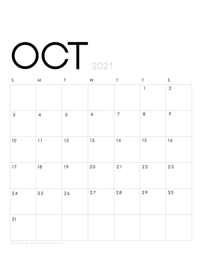Free printable October 2021 calendar