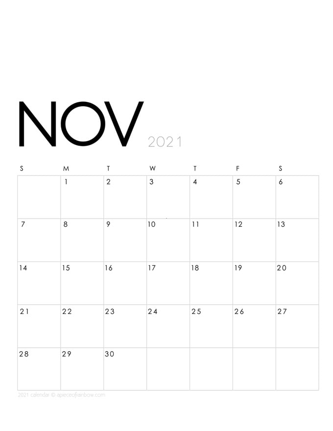 Free printable November 2021 calendar and monthly planner