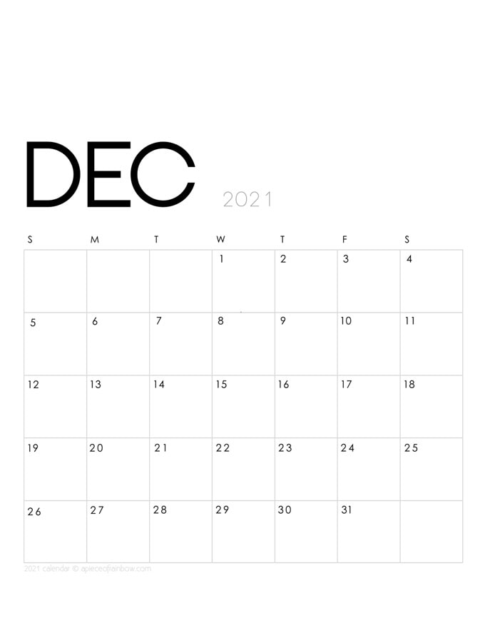 Free printable December 2021 calendar and monthly planner,