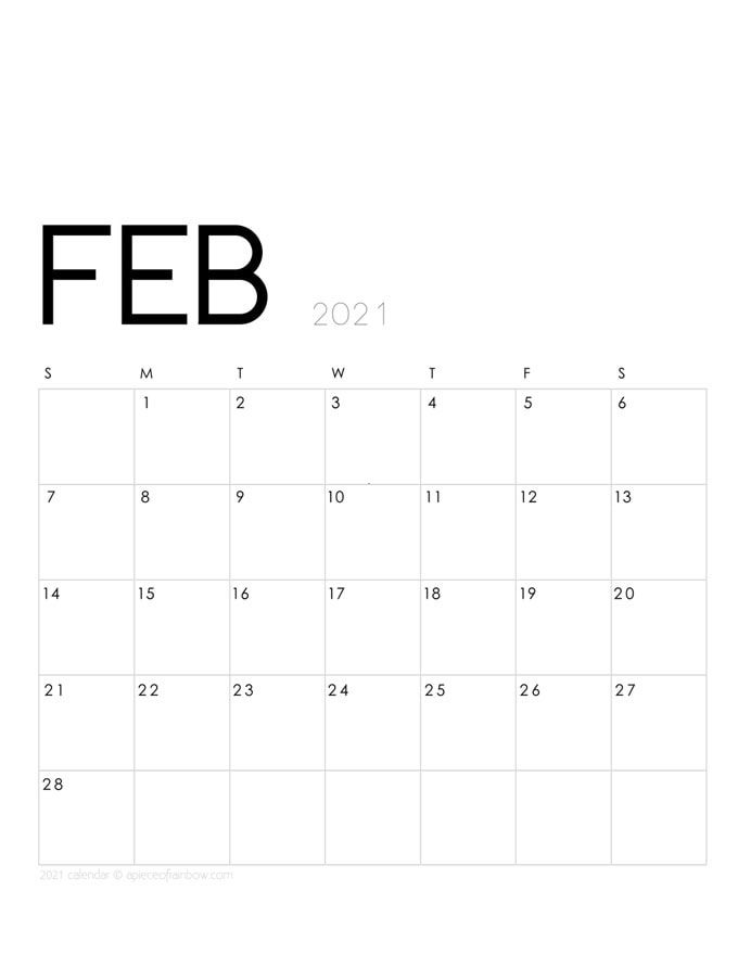 Free printable February 2021 calendar and monthly planner