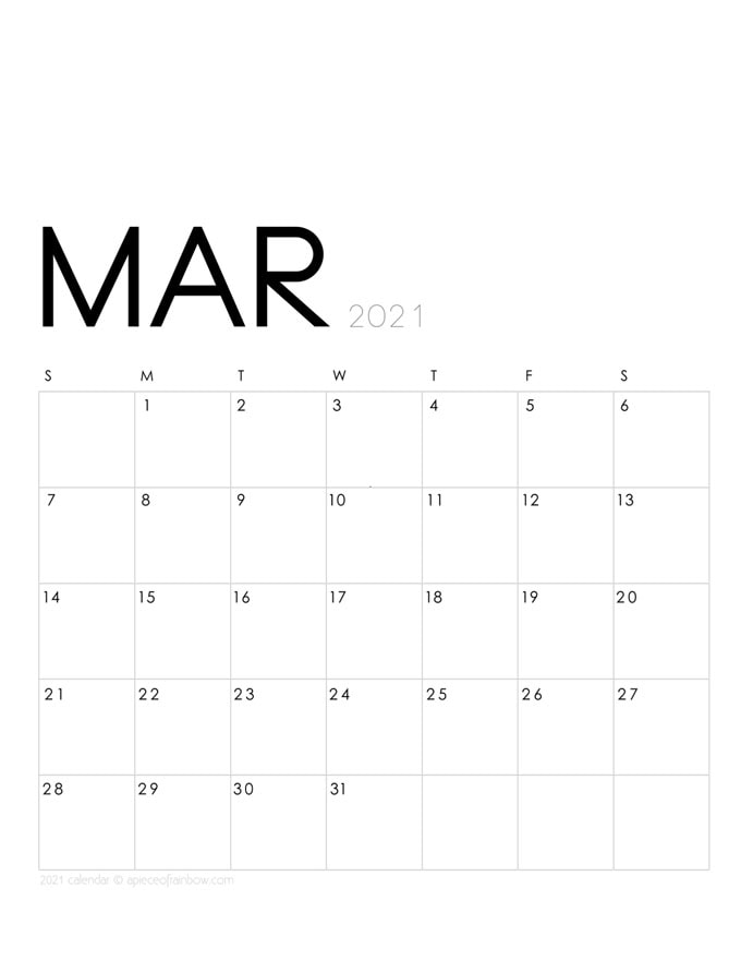 Free printable March 2021 calendar and monthly planner