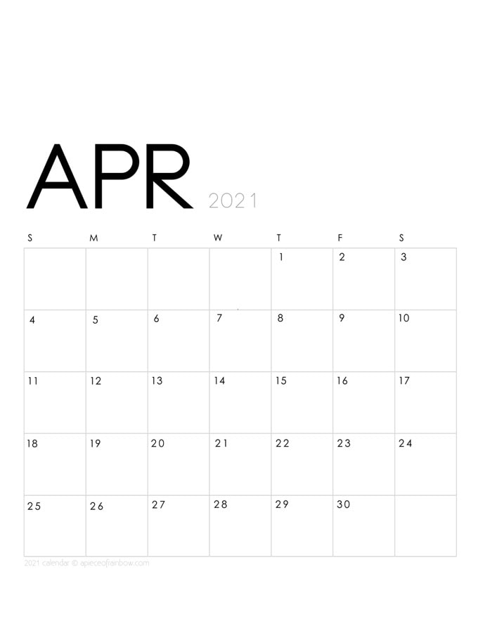 Free printable April 2021 calendar and monthly planner