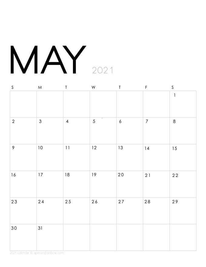 Free printable May 2021 calendar and monthly planner