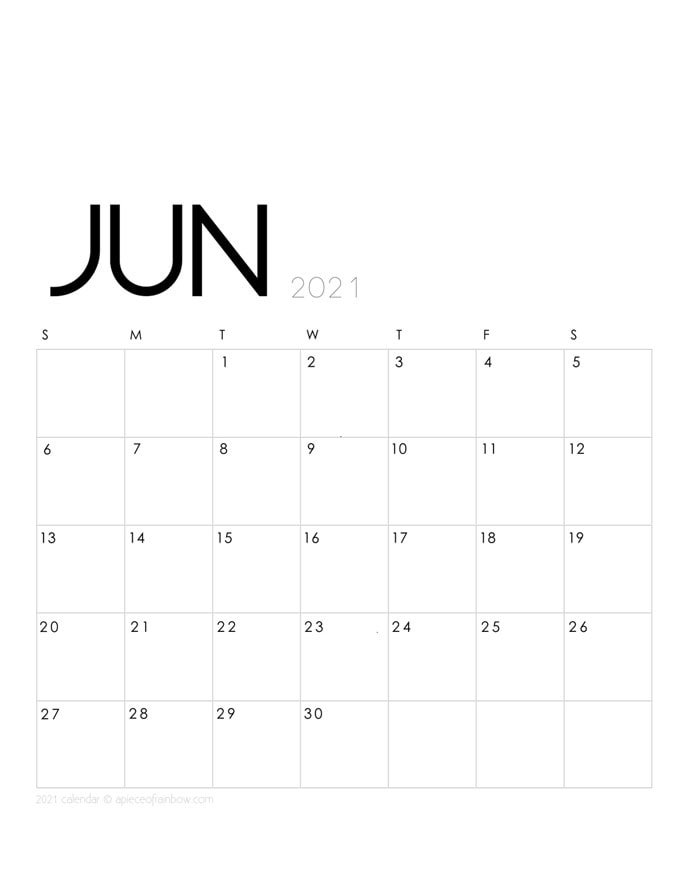 Free printable June 2021 calendar and monthly planner