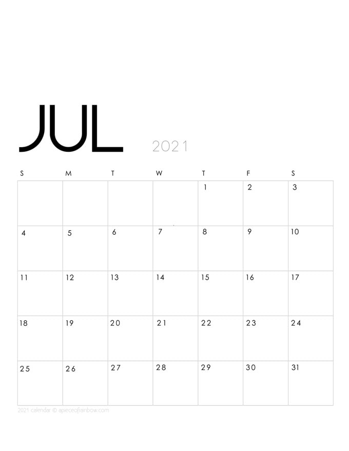 Free printable July 2021 calendar and monthly planner