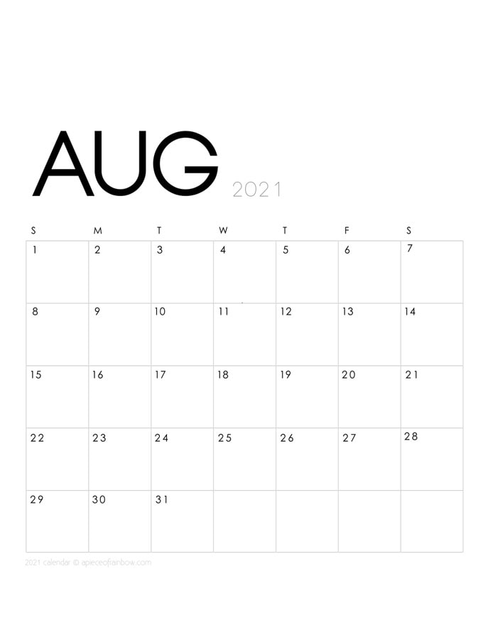 Free printable August 2021 calendar and monthly planner