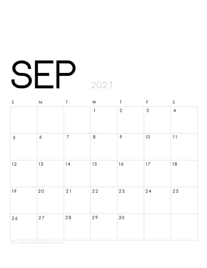 Free printable September 2021 calendar and monthly planner