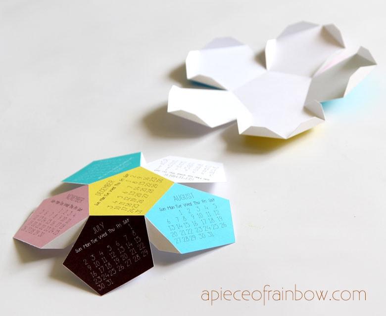 cut  paper calendar free template