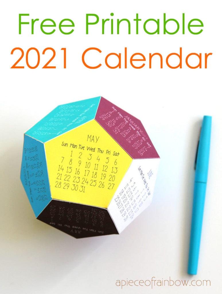 3D 2021 calendar free template