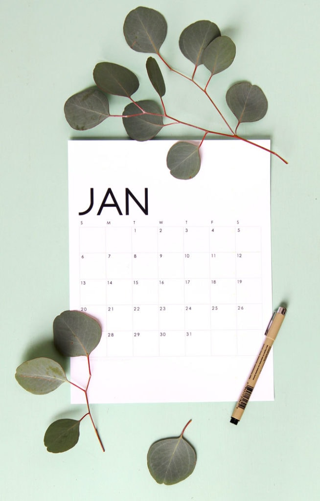 modern 2021 monthly calendar in black and white