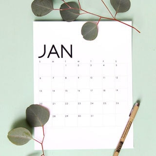Gorgeous modern minimal 2021 monthly calendar & planners free printables