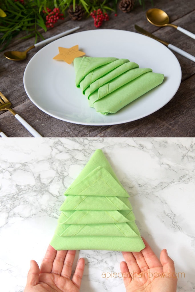 Christmas Tree Napkin Folding In 2 Minutes A Piece Of Rainbow