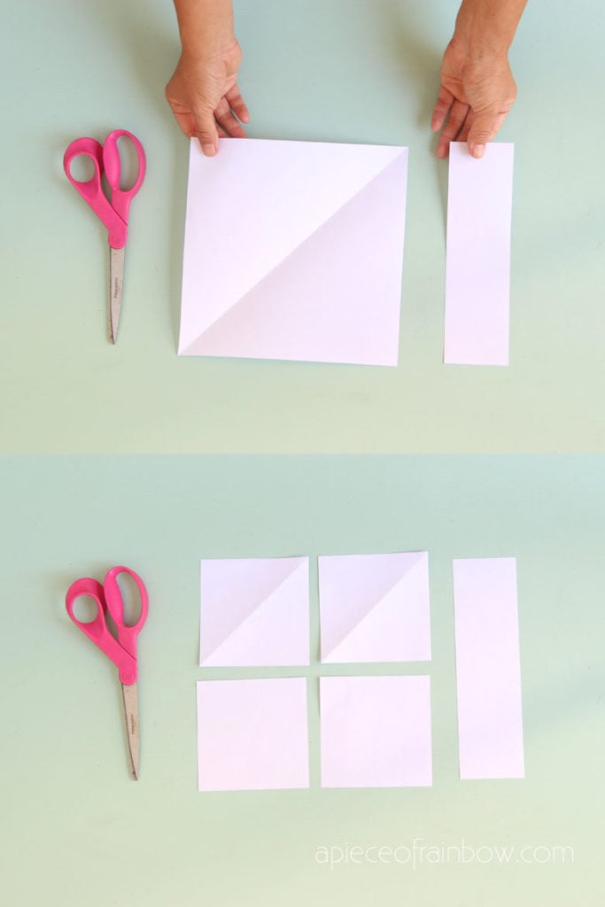"""small pieces of squares cut from 8.5"""" x 11"""" white copy paper,"""