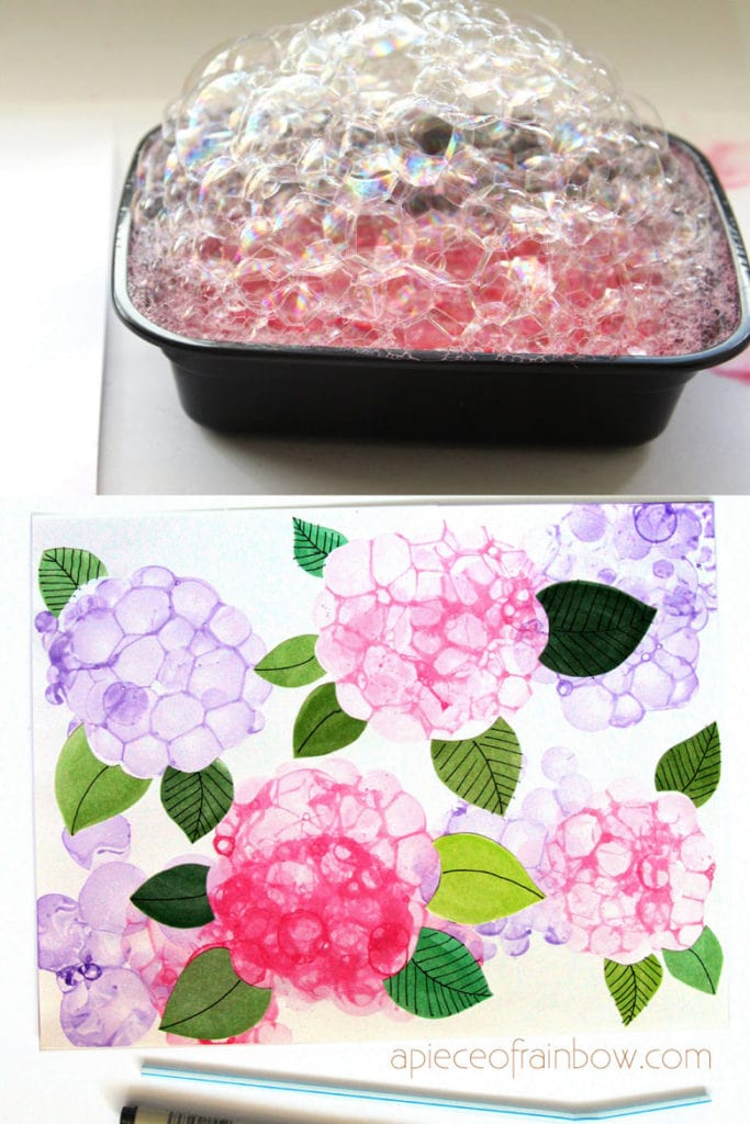 Special watercolor techniques: bubble paint Hydrangeas