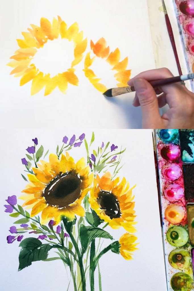 Painting watercolor sunflowers