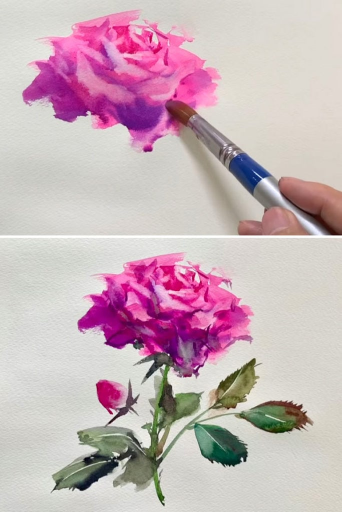 Realistic watercolor rose tutorial