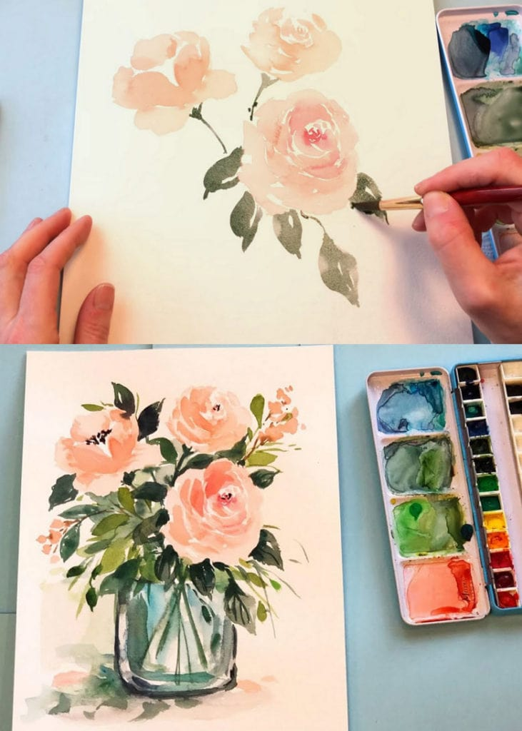 Painting watercolor flowers in a mason jar or vase