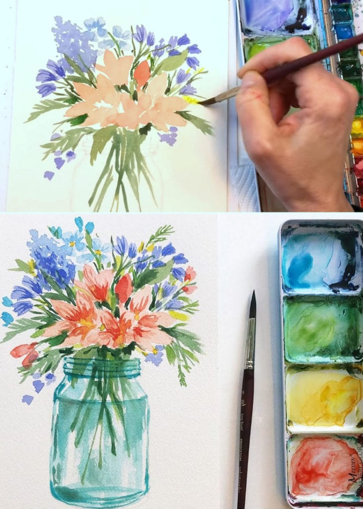 how to paint watercolor flowers in a mason jar or vase