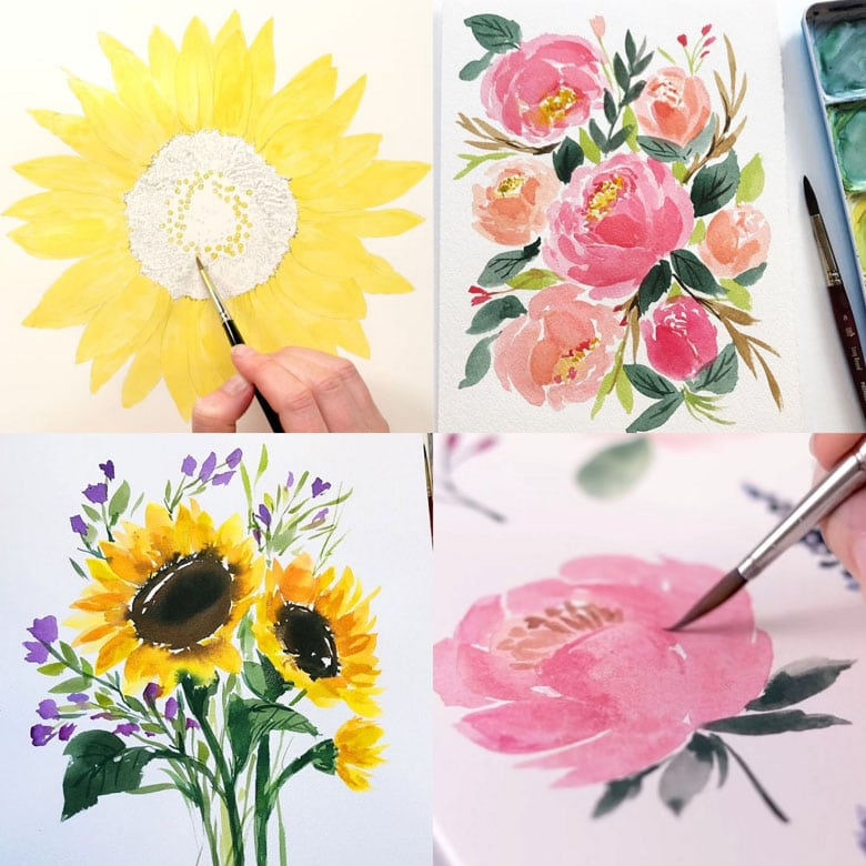 easy watercolor flowers tutorials & videos on how to paint roses, peonies, hydrangeas, sunflowers, bouquets, & more!