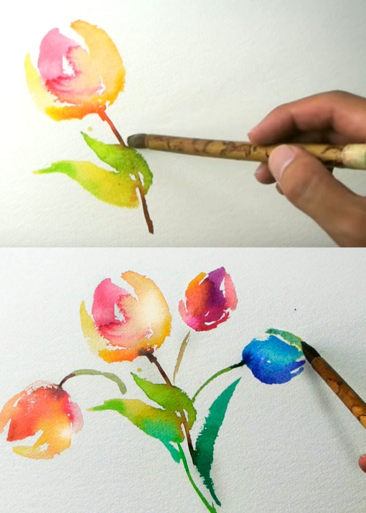 How to paint watercolor tulips: great tutorial for beginners