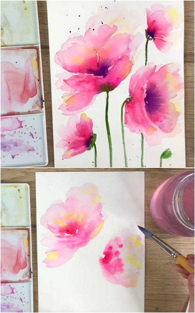 Easy watercolor poppy flowers with wet on wet technique