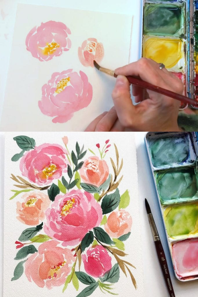 How to paint peonies in watercolor