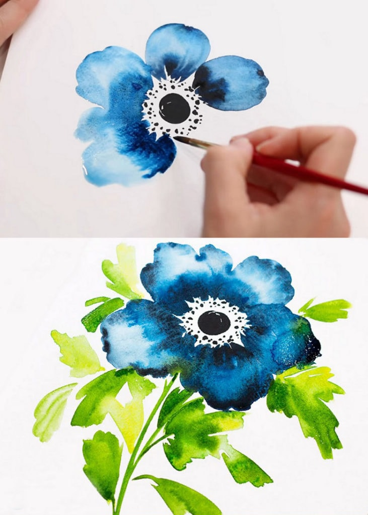 Painting watercolor Anemone flowers