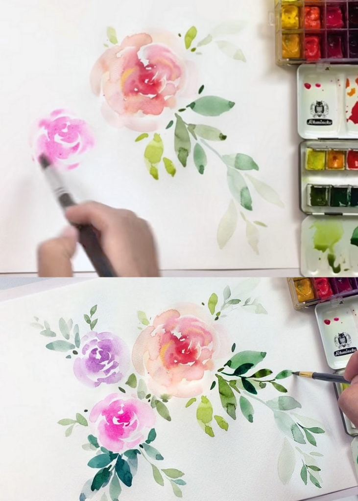 Loose floral watercolor tutorial
