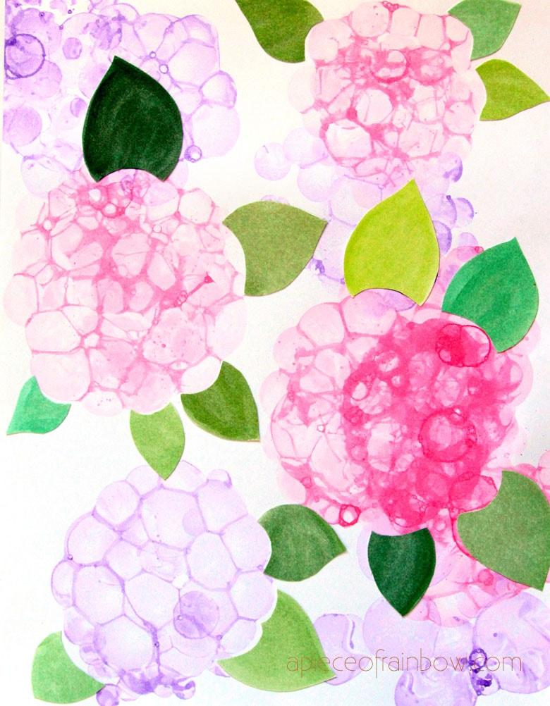 make bubble painting Hydrangea flowers