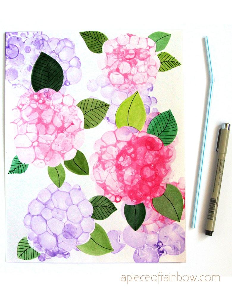 beautiful bubble painting Hydrangea flowers with Fun DIY dish soap paint recipe.