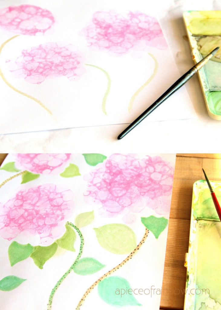 add stems to bubble painting Hydrangea flowers