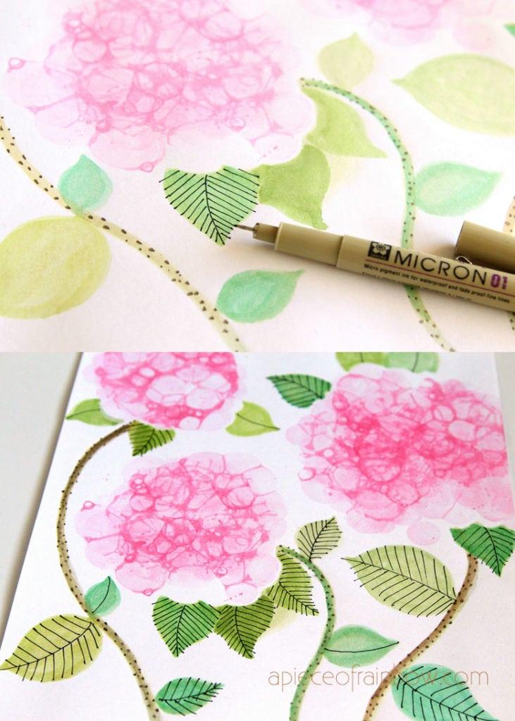 bubble paint flower hydrangeas watercolor