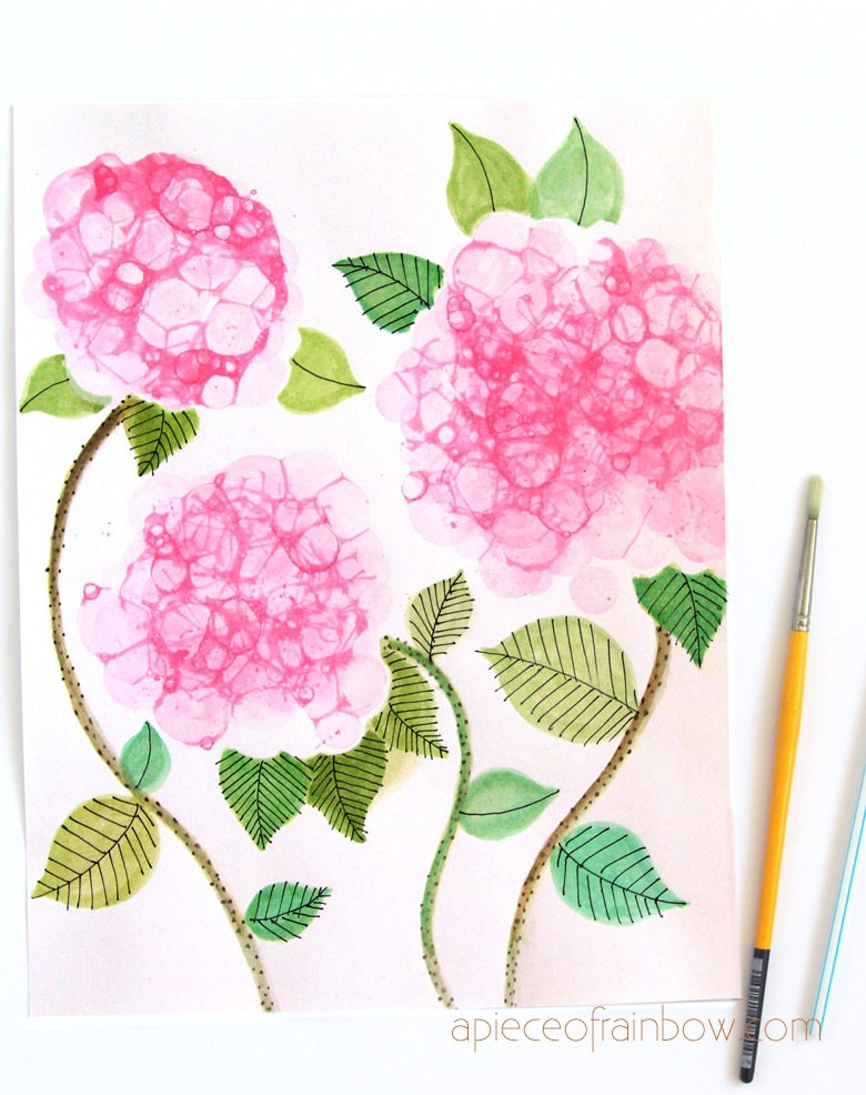 watercolor hydrangeas with homemade bubble paint