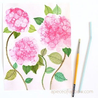 Make beautiful bubble painting Hydrangea flowers! Fun DIY dish soap paint recipe. Great kids art activity & easy beginner watercolor ideas!