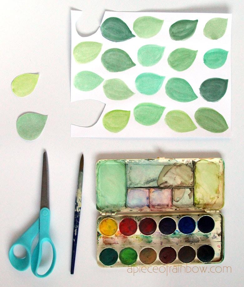 make watercolor leaves