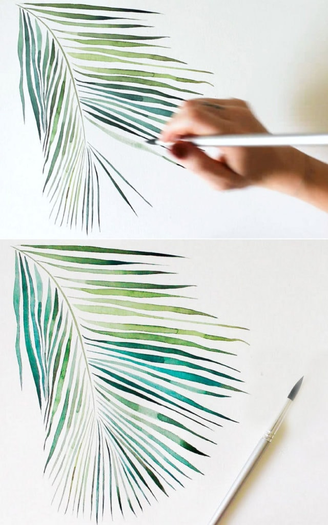 How to paint tropical palm leaf in watercolor