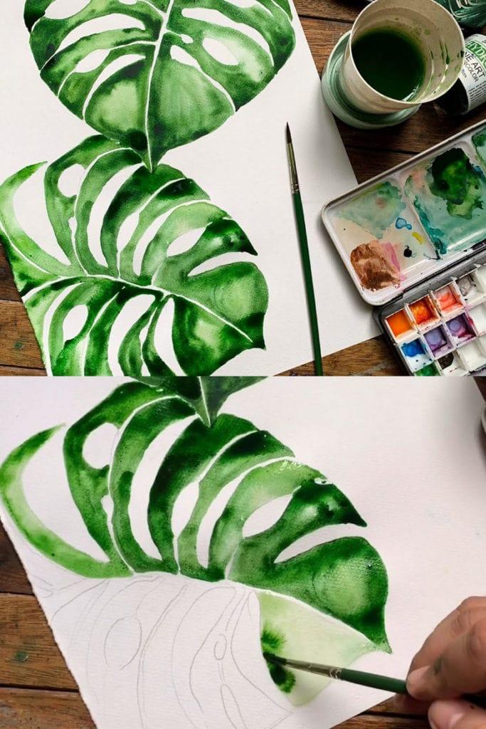 Watercolor Monstera leaf painting