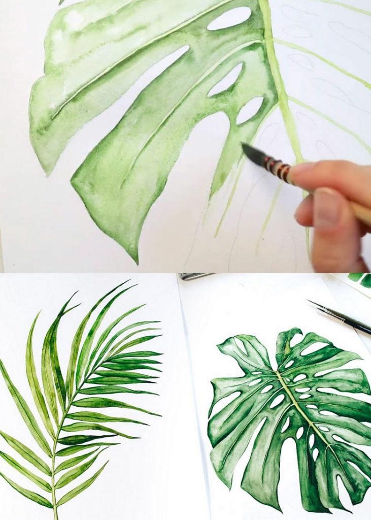 beautiful watercolor tropical leaves boho wall art and decor