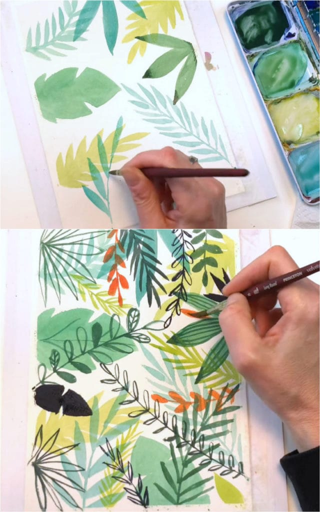 Painting watercolor leaf borders and patterns