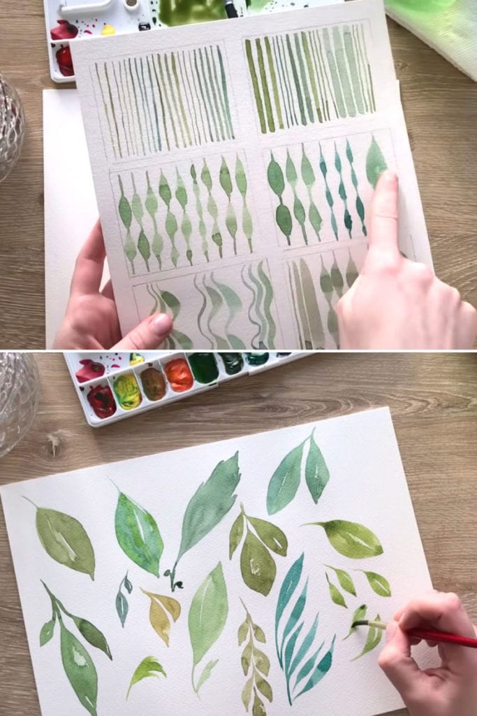 Painting watercolor leaves with simple brush strokes