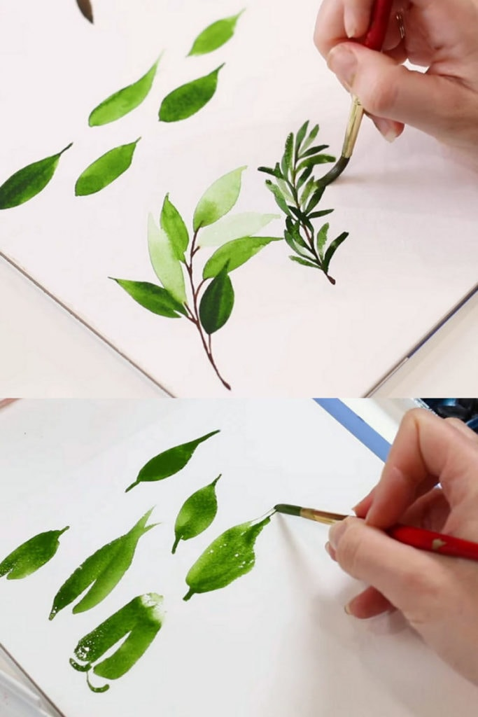 use different size brushes to paint watercolor leaves of different sizes